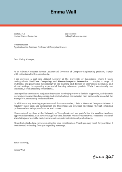 Assistant Professor of Computer Science Cover Letter Sample