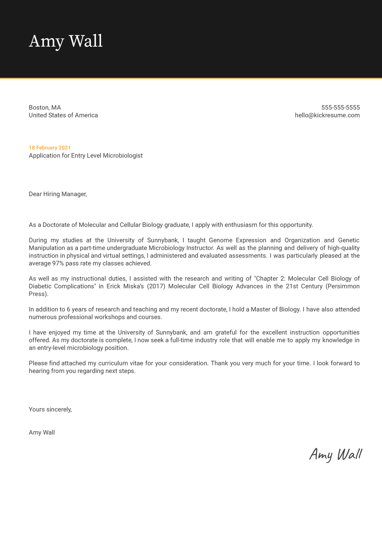 Entry Level Microbiologist Cover Letter Example