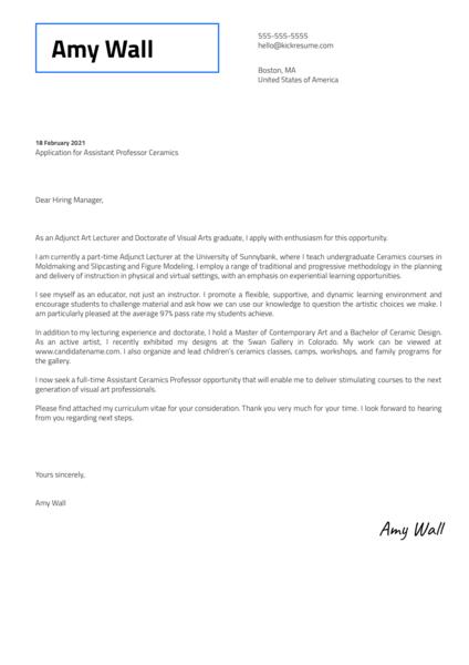 Assistant Professor Ceramics Cover Letter Sample