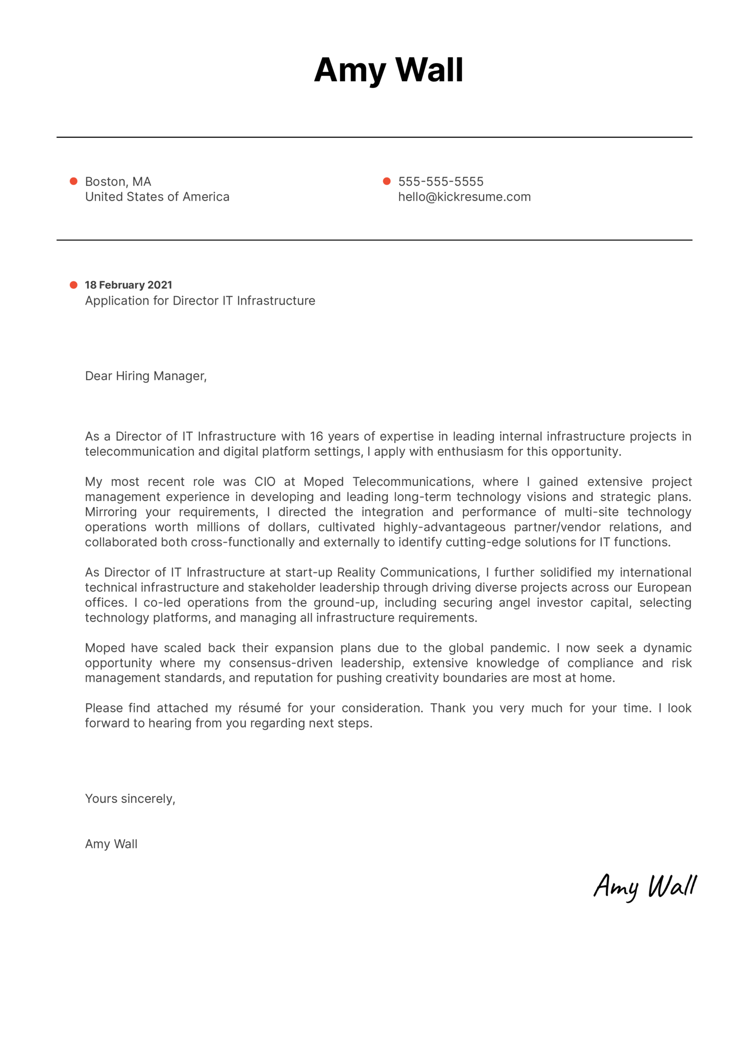 Director IT Infrastructure Cover Letter Sample