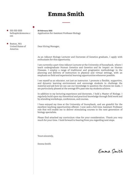Assistant Professor Biology Cover Letter Sample