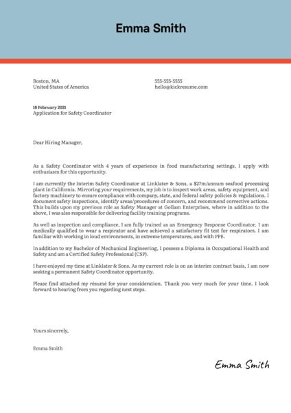 Safety Coordinator Cover Letter Sample