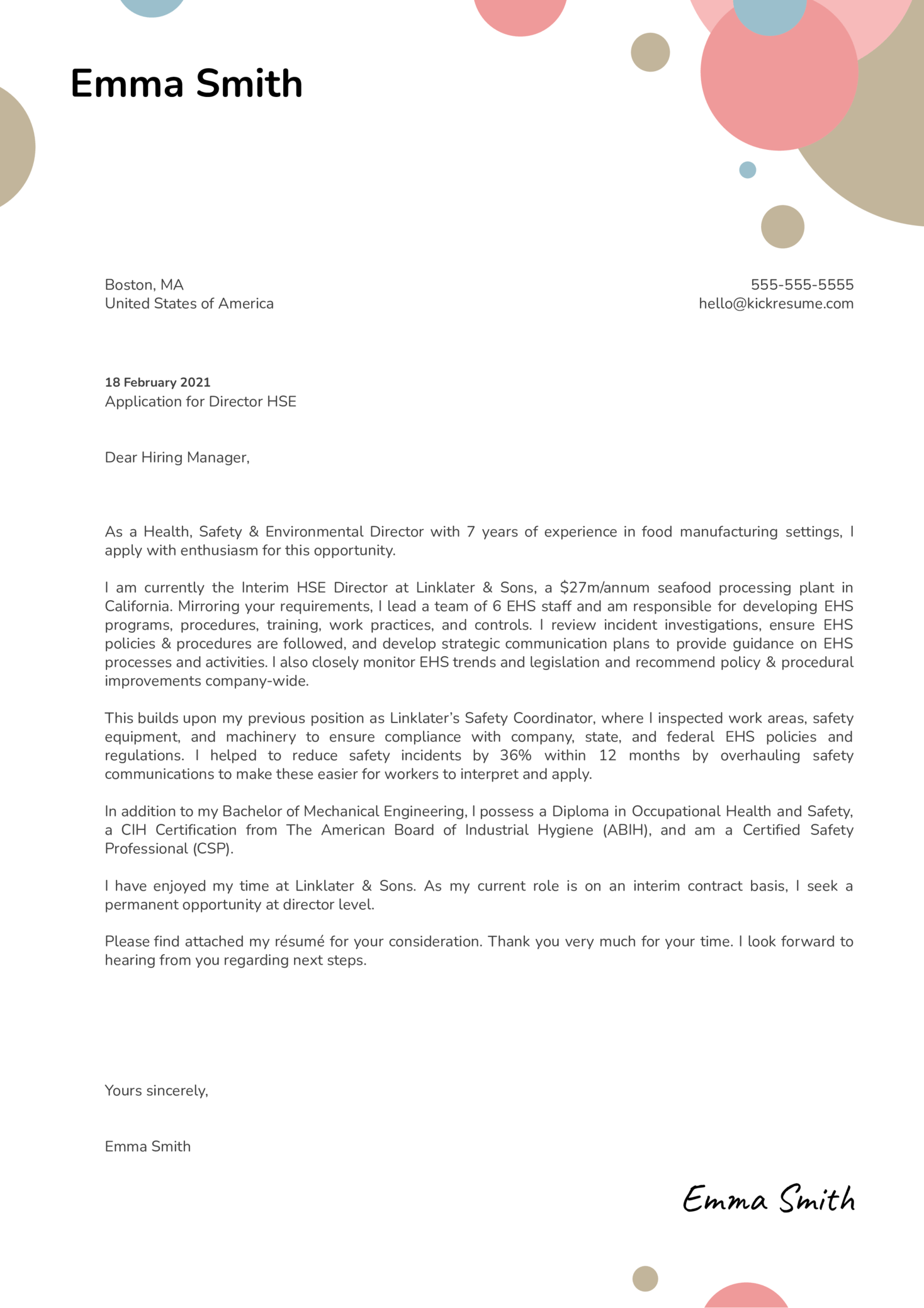 Director HSE Cover Letter Template