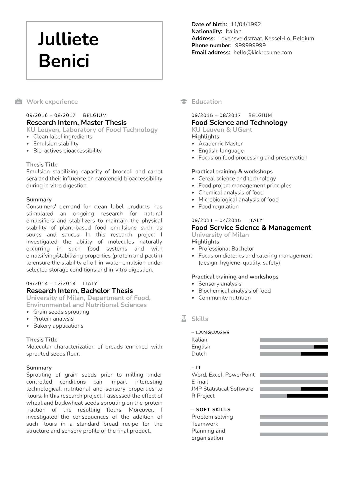 Quality Control Project Technician CV Example (časť 1)