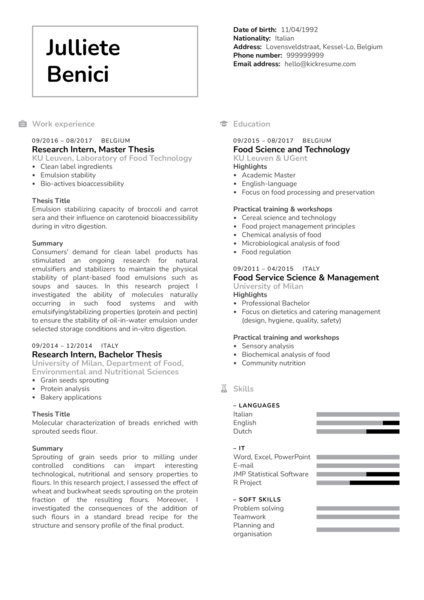 Quality Control Project Technician CV Example