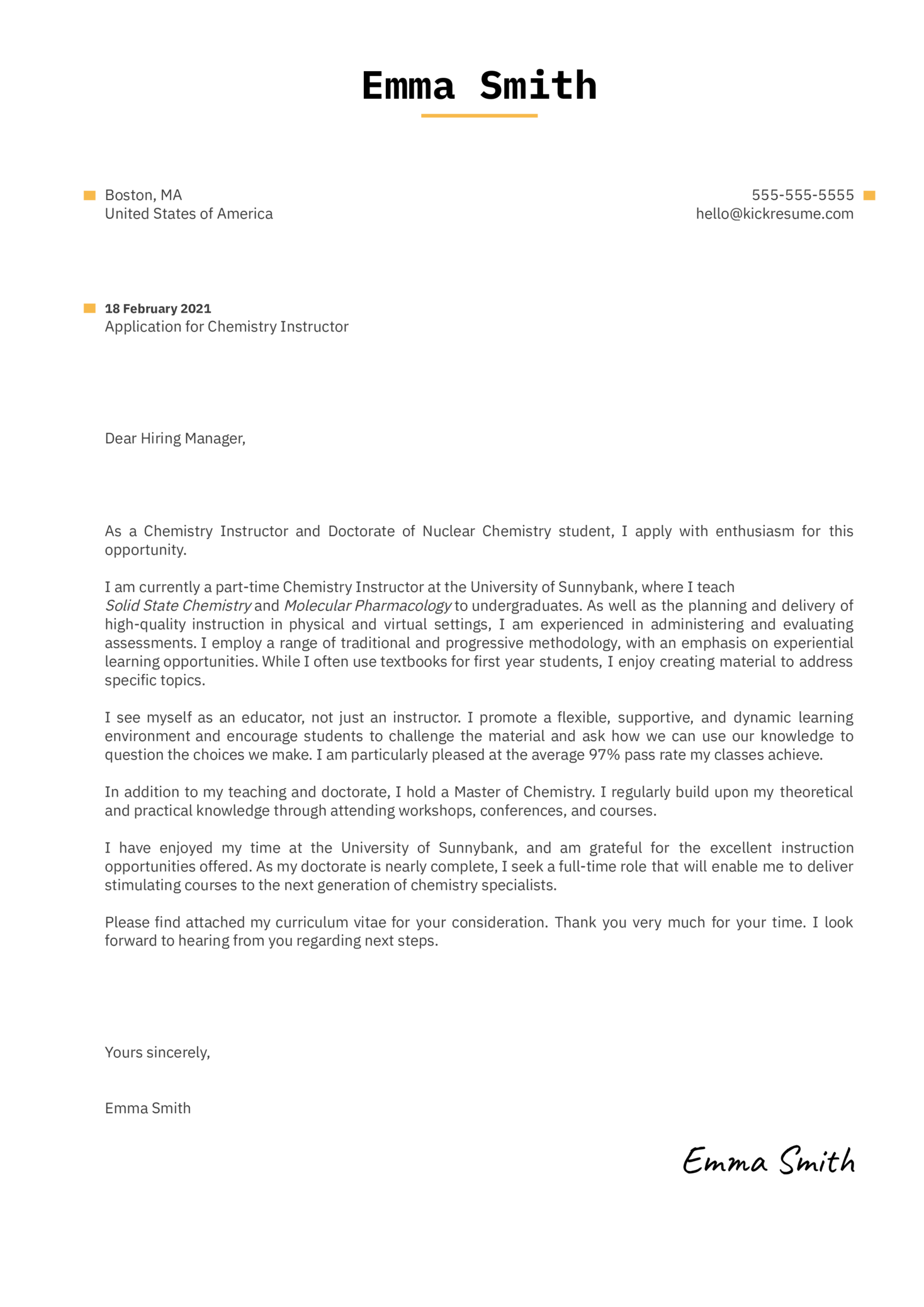 Chemistry Instructor Cover Letter Template
