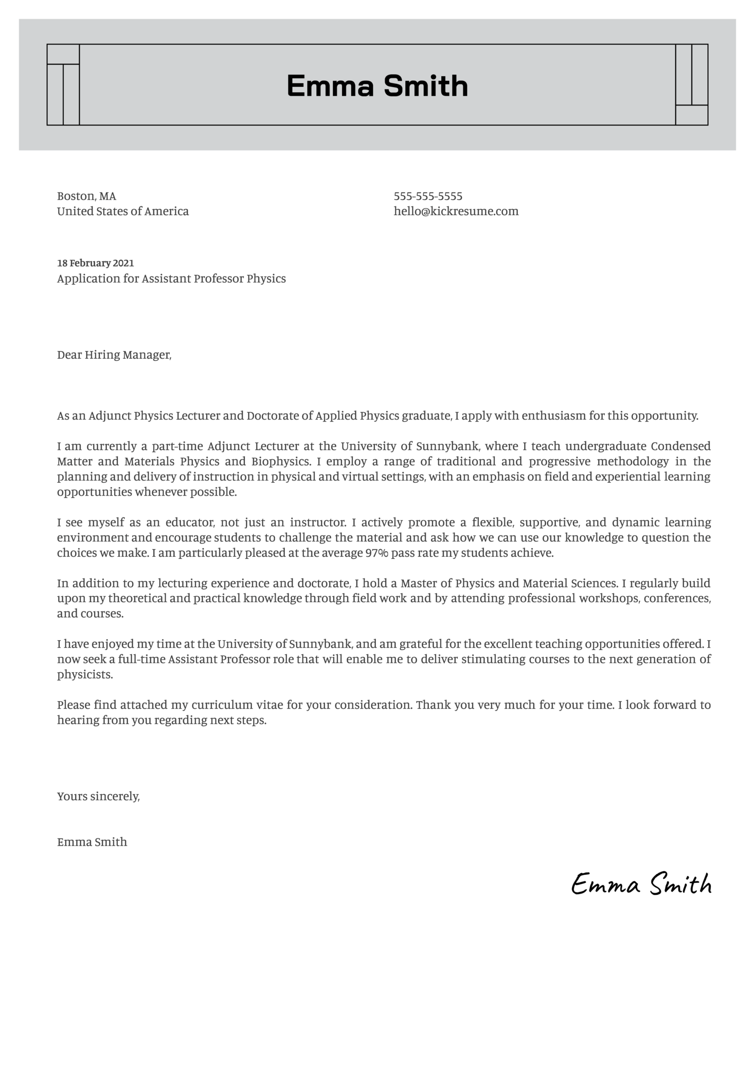 Assistant Professor Physics Cover Letter Example