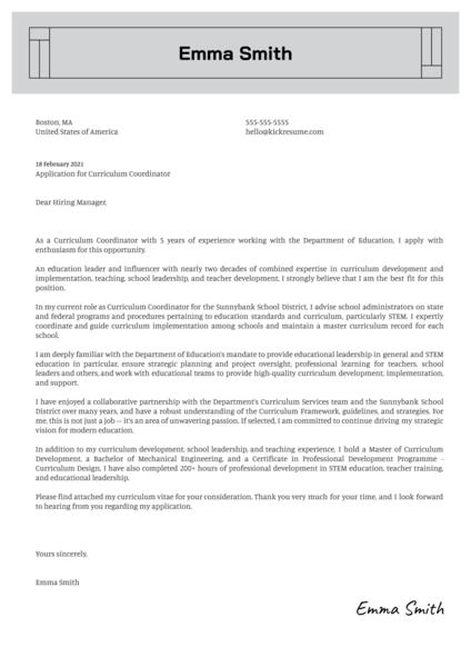 Curriculum Coordinator Cover Letter Sample