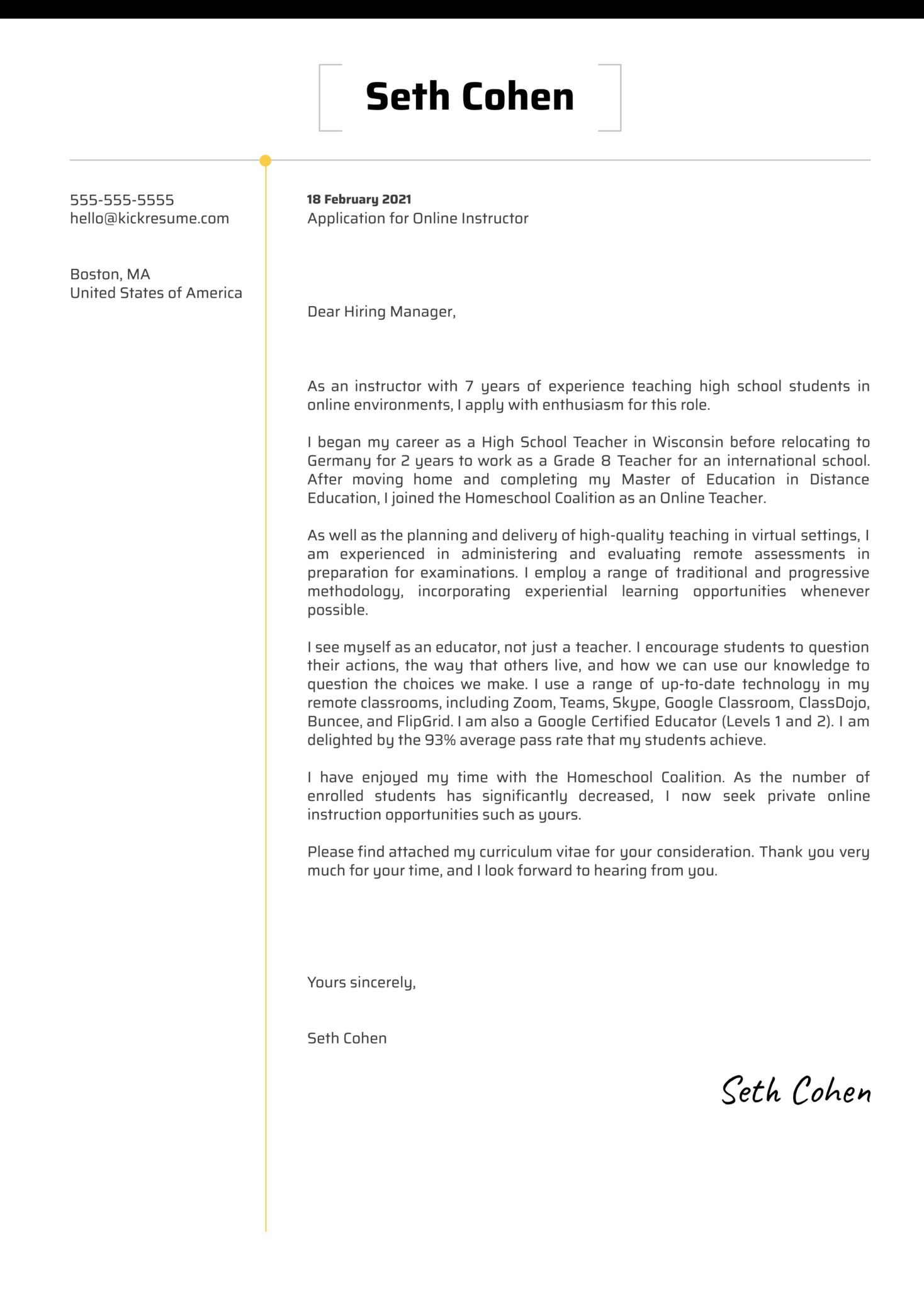 Online Instructor Cover Letter Example
