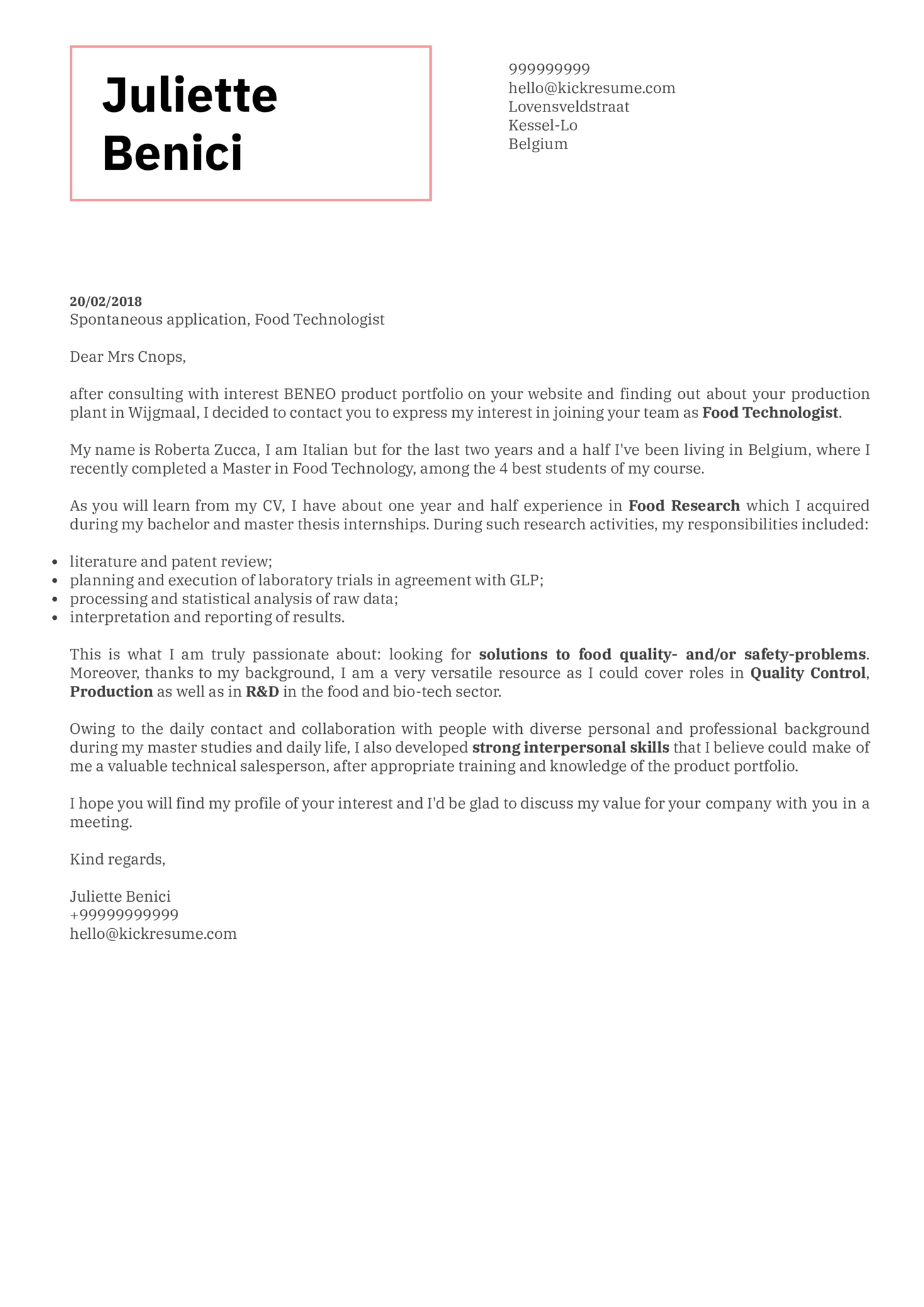 Quality Control Project Technician Cover Letter