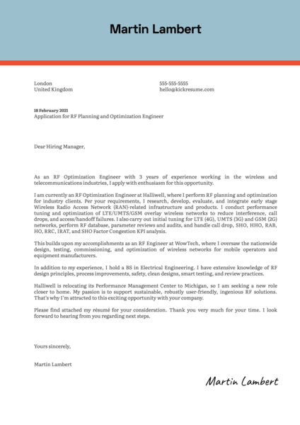 RF Planning and Optimization Engineer Cover Letter Sample