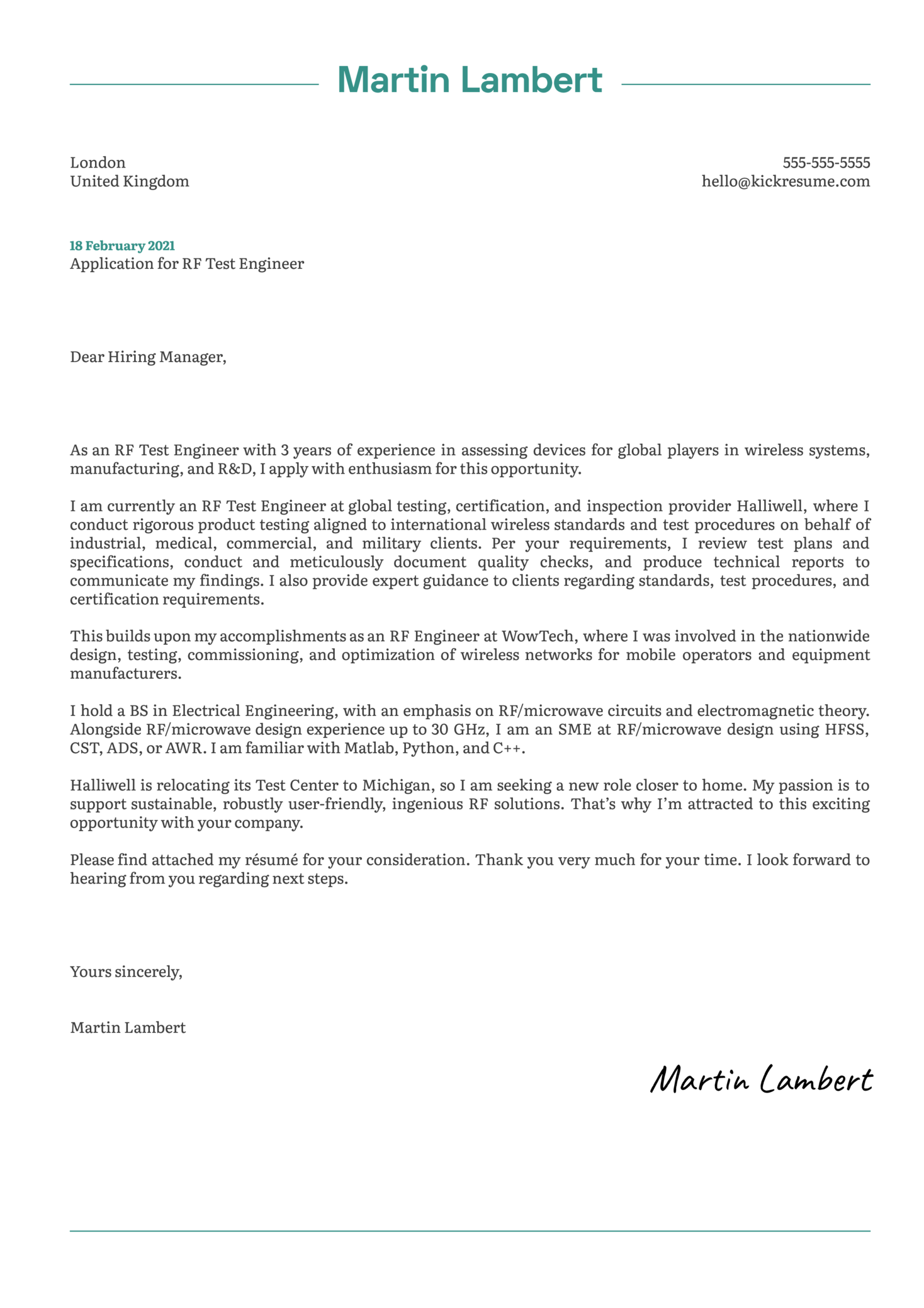 RF Test Engineer Cover Letter Example