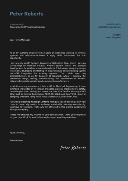 RF Systems Engineer Cover Letter Sample