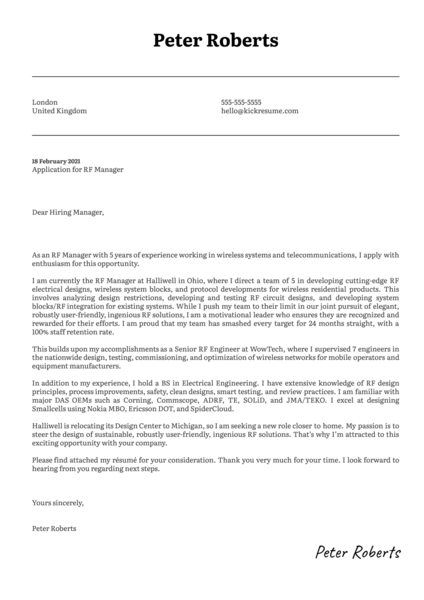 RF Manager Cover Letter Template