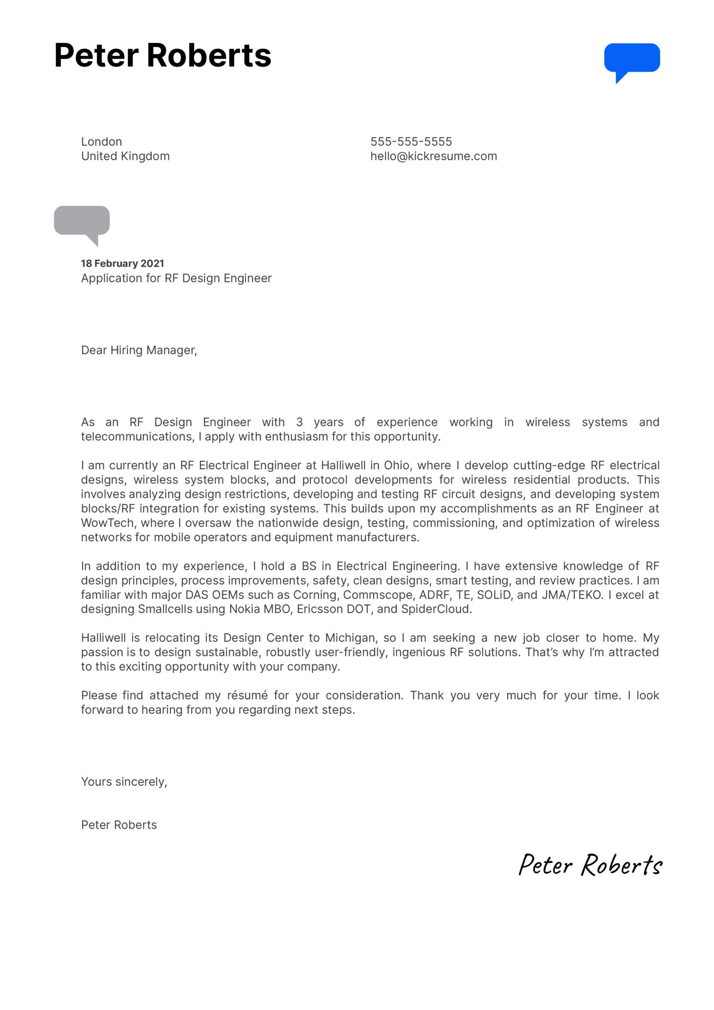 RF Design Engineer Cover Letter Sample