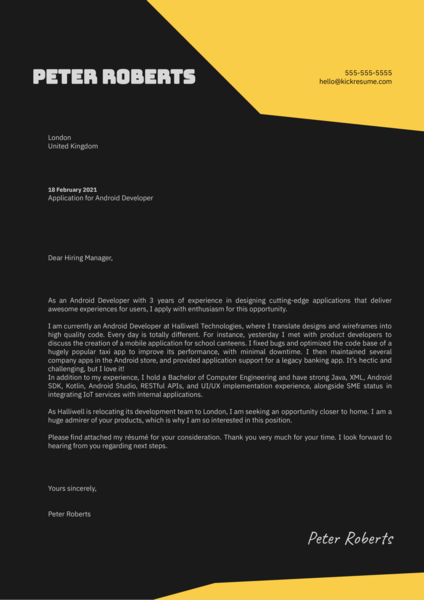 Android Developer Cover Letter Example