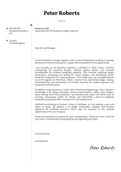 RF Hardware Design Engineer Cover Letter Sample