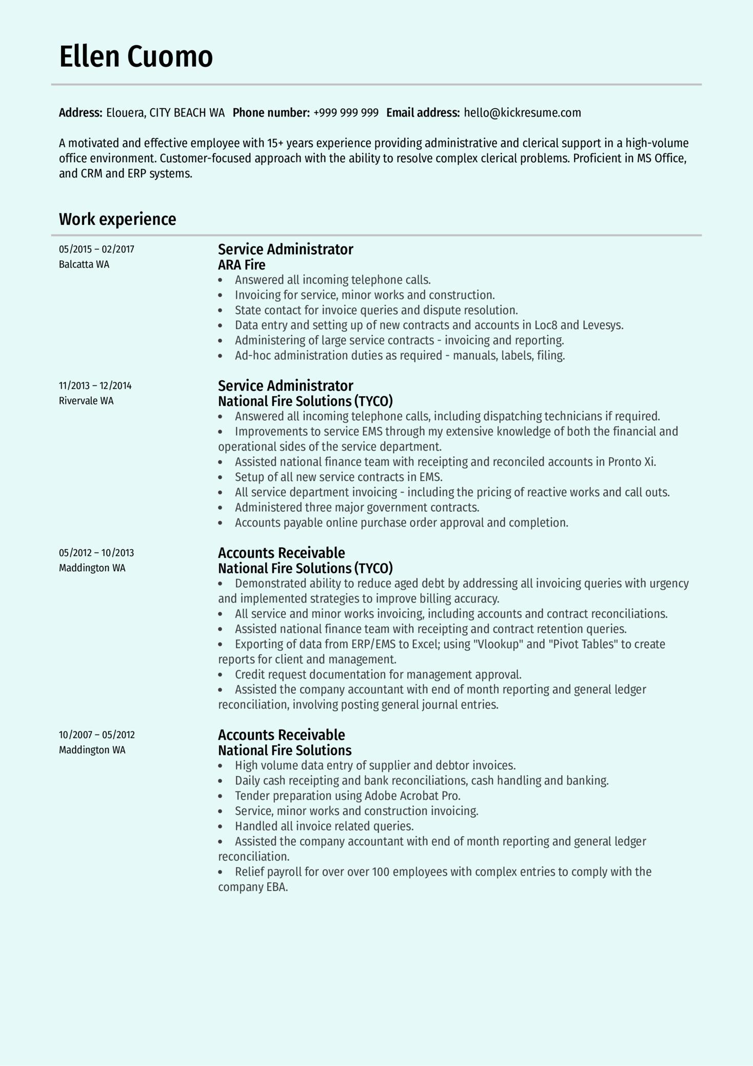Service Administrator Resume Sample (parte 1)