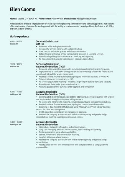Service Administrator Resume Sample