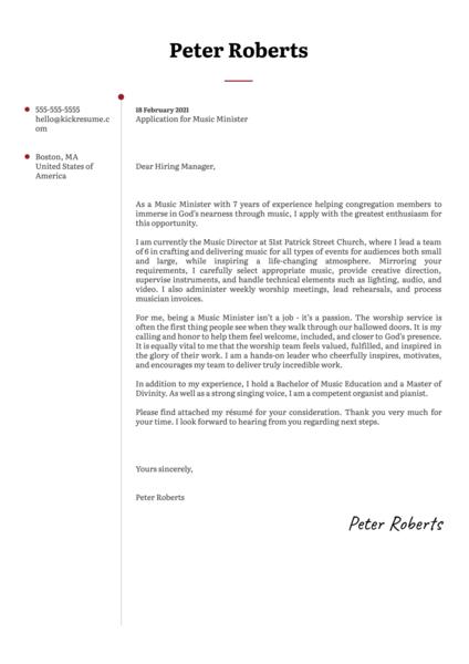 Music Minister Cover Letter Sample