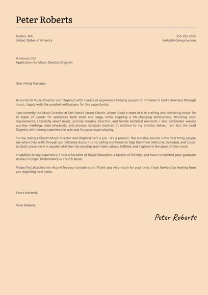 Music Director Organist Cover Letter Sample