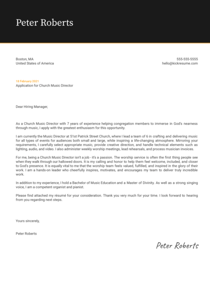 Church Music Director Cover Letter Template