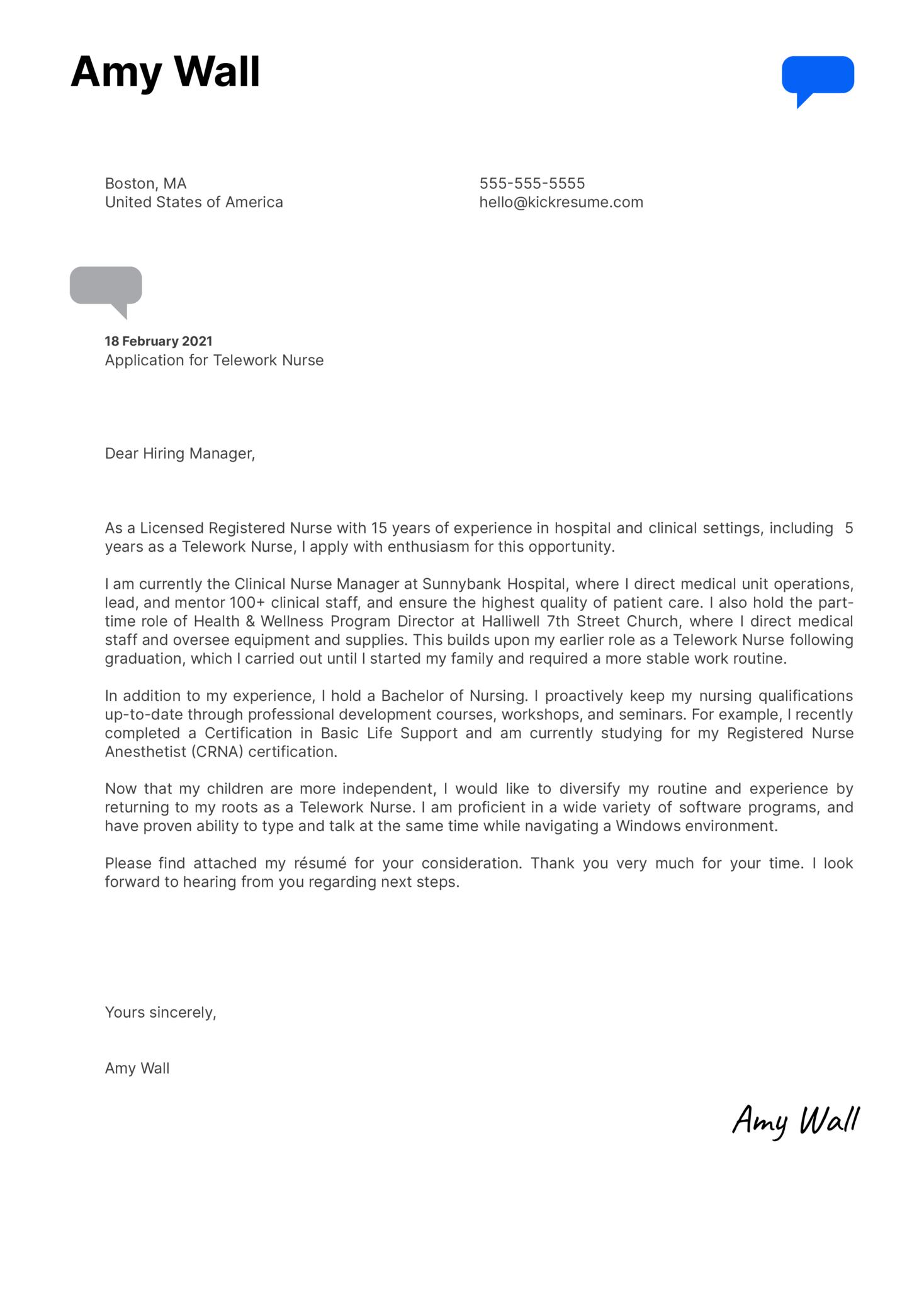Telework Nurse Cover Letter Sample