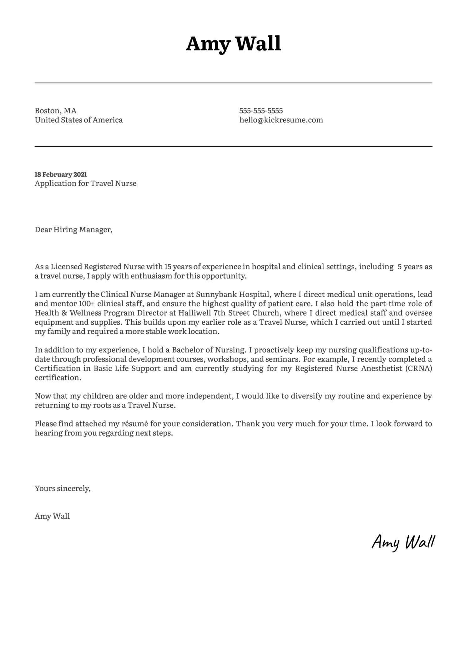 Travel Nurse Cover Letter Template