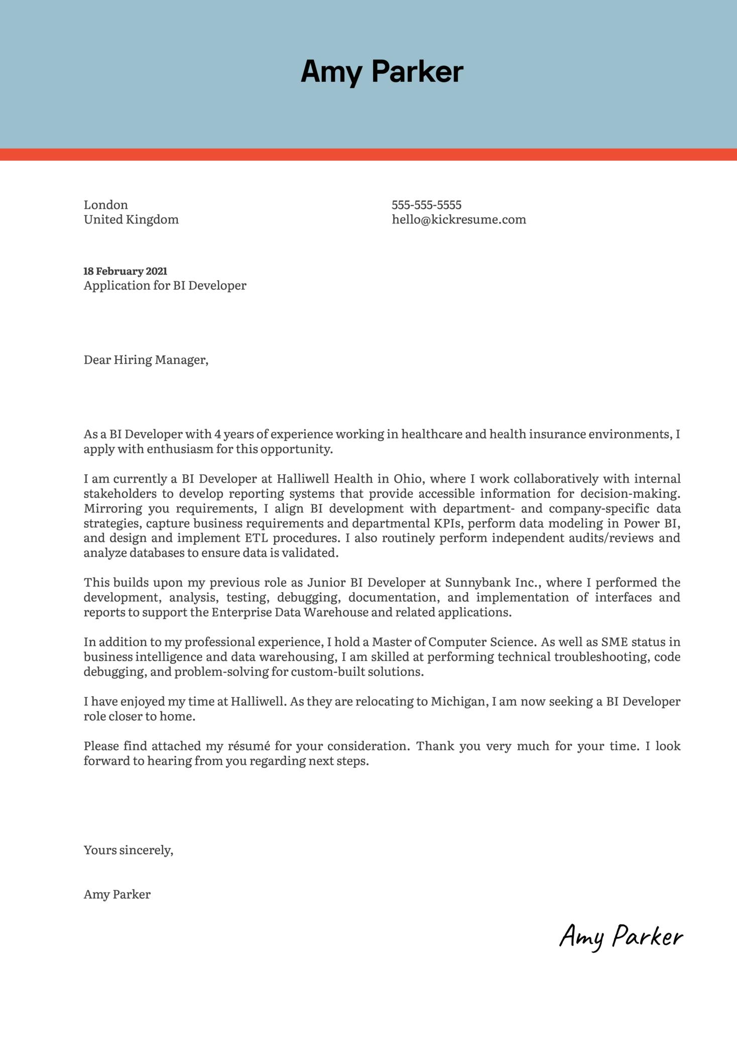 BI Developer Cover Letter Example