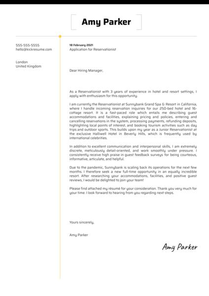 Reservationist Cover Letter Sample