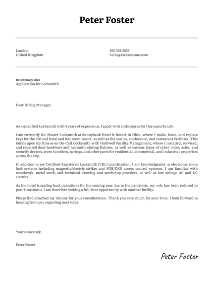 Locksmith Cover Letter Template