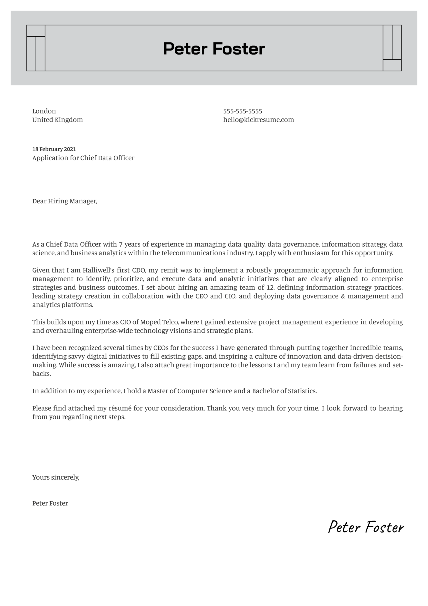 CDO Cover Letter Example