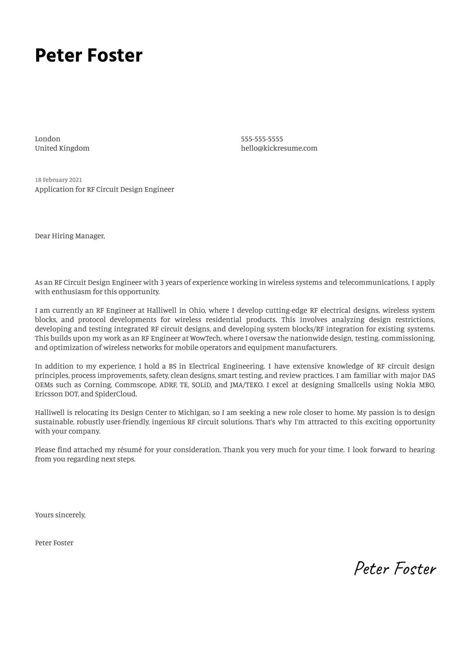 RF Circuit Design Engineer Cover Letter Template