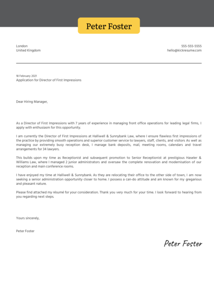Director of First Impressions Cover Letter Example