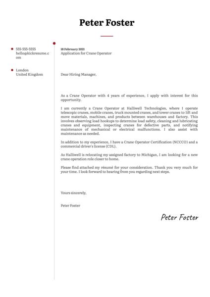 Crane Operator Cover Letter Sample