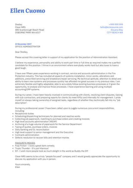 Service Administrator Cover Letter Sample