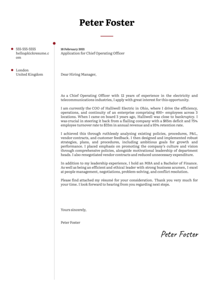 Chief Operating Officer Cover Letter Example
