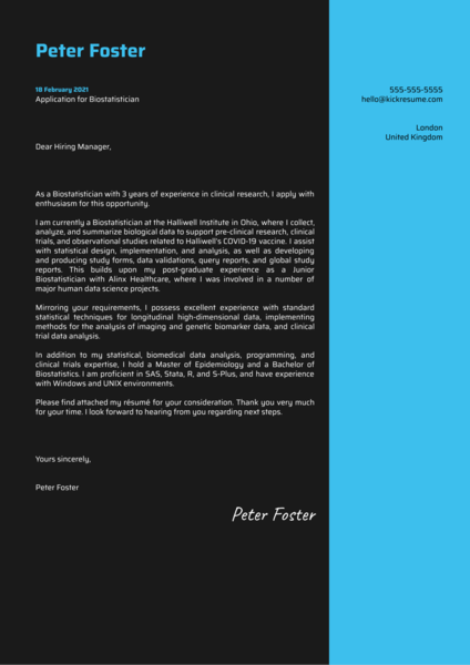 Biostatistician Cover Letter Example