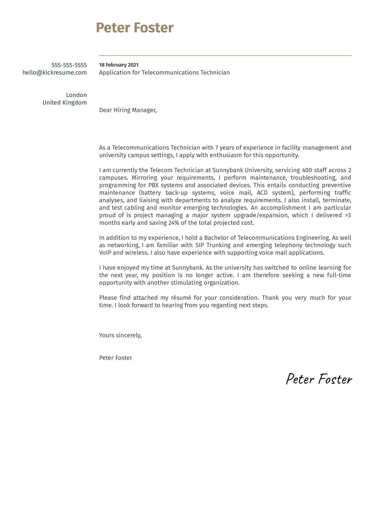 Telecommunications Technician Cover Letter Example
