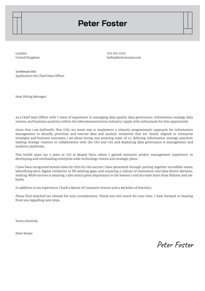 Chief Data Officer Cover Letter Example