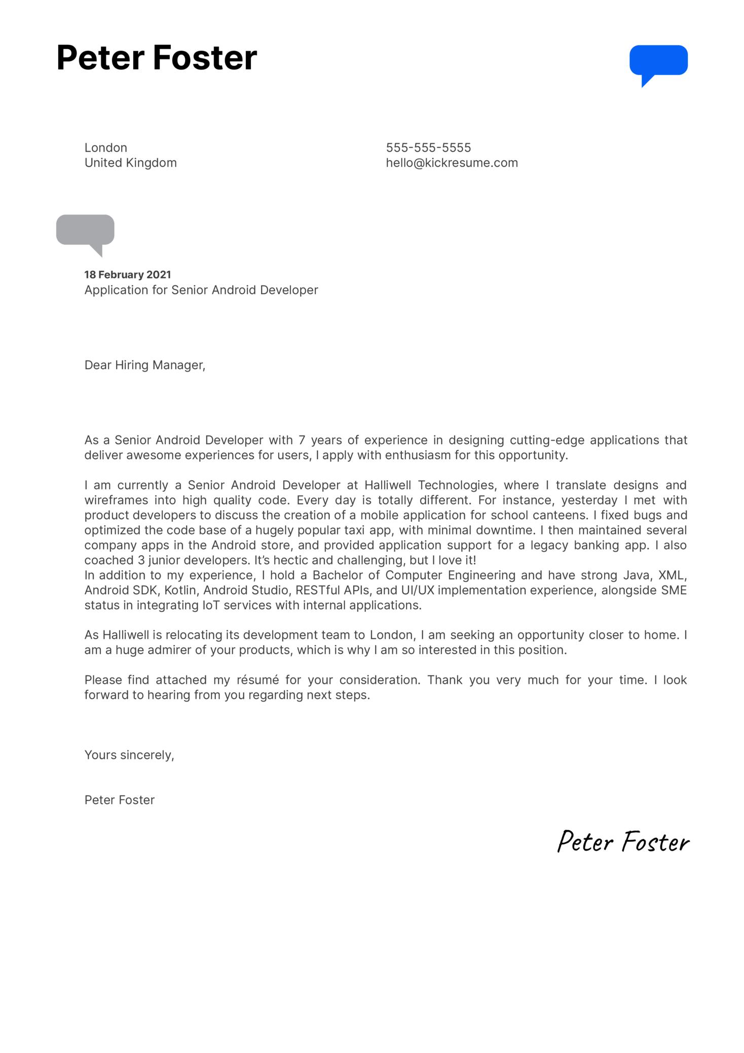 Senior Android Developer Cover Letter Template