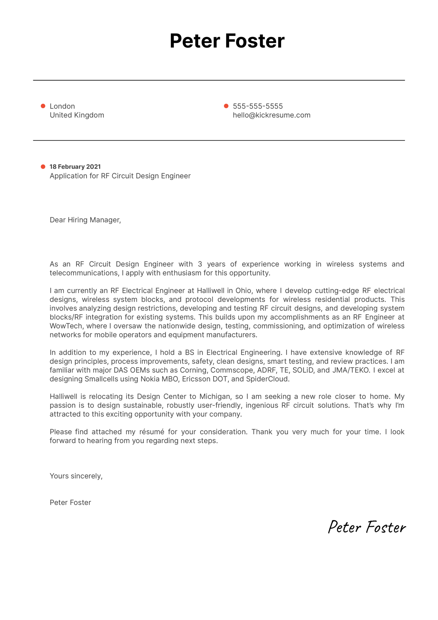 Circuit Design Engineer Cover Letter Sample