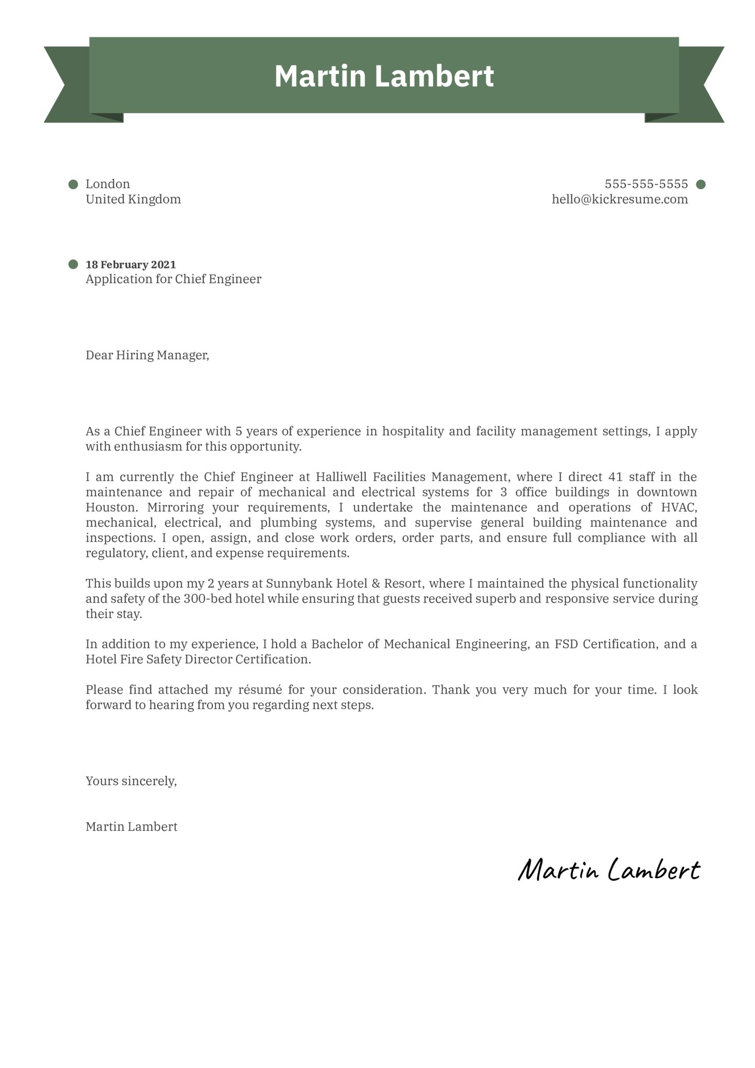 Chief Engineer Cover Letter Example
