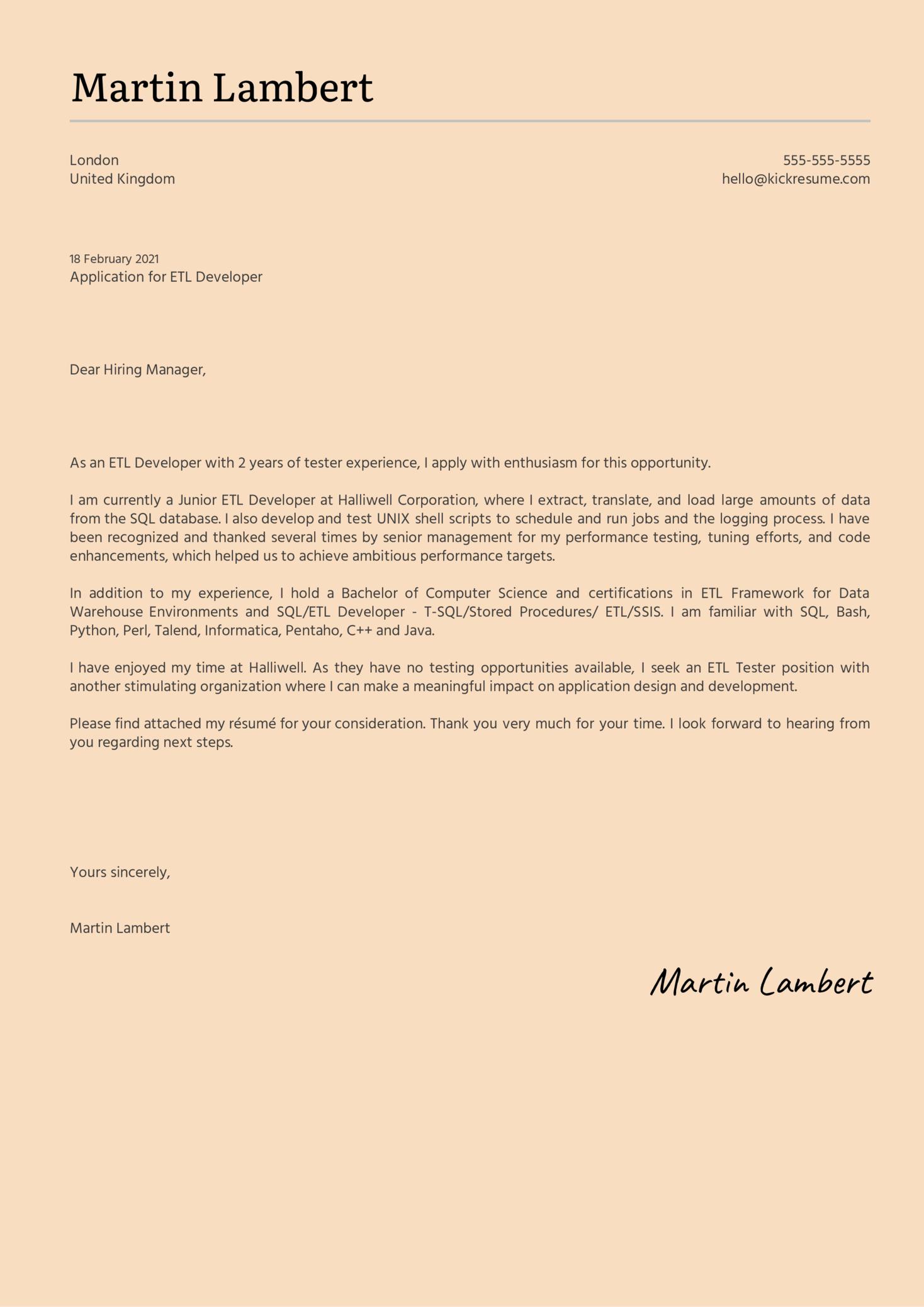 ETL Developer Cover Letter Sample