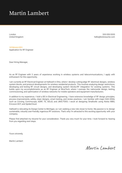 RF Engineer Cover Letter Sample