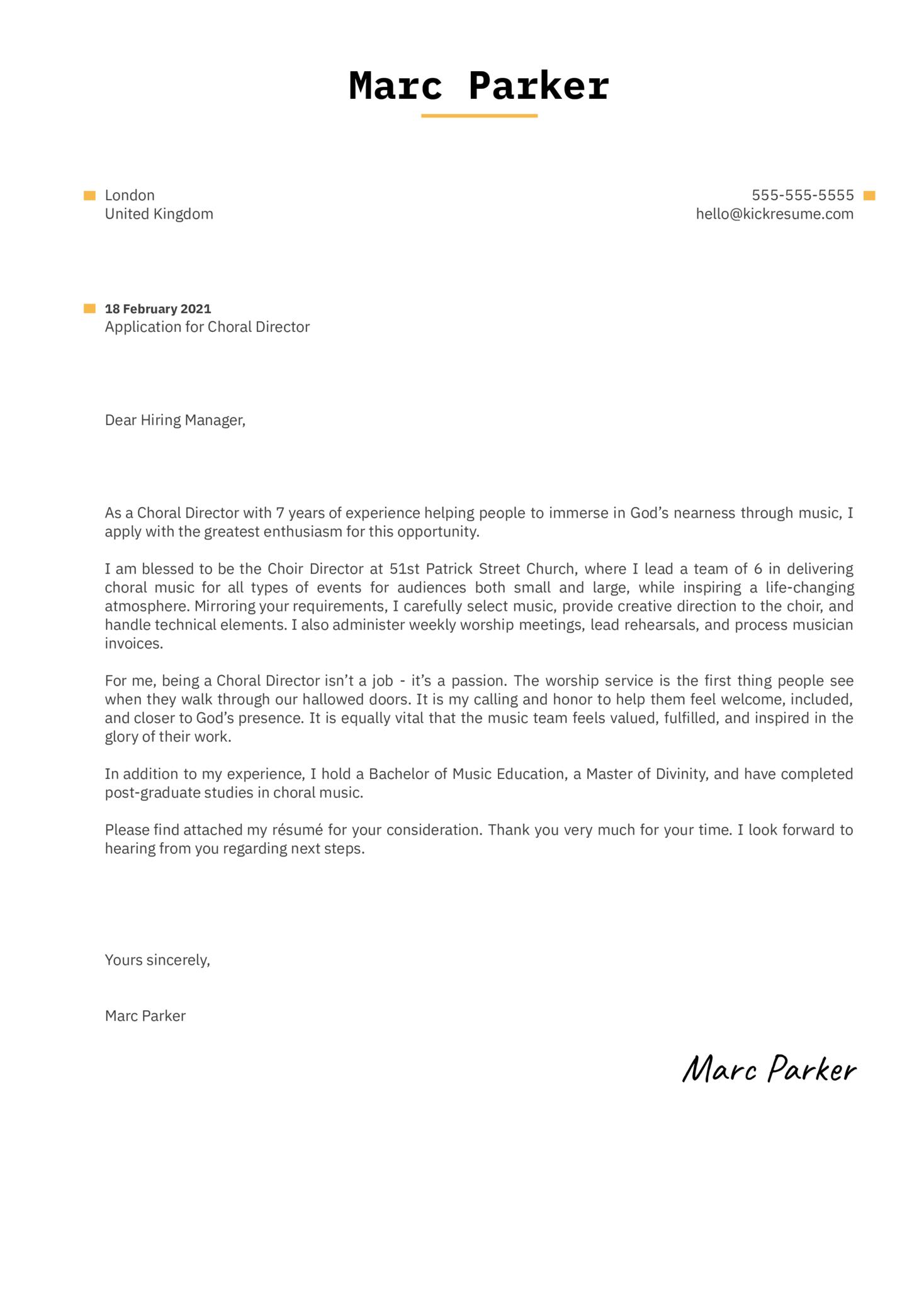 Choral Director Cover Letter Sample