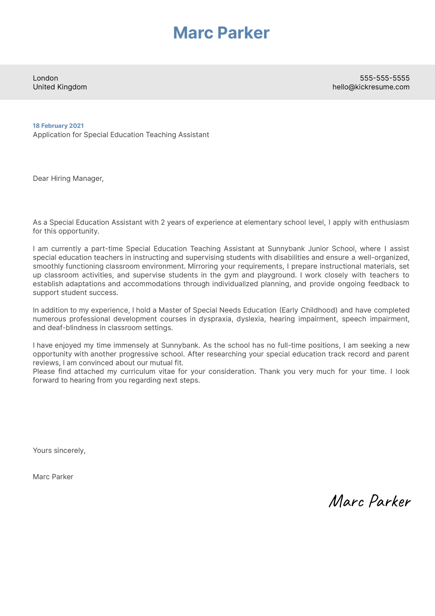 Special Education Teaching Assistant Cover Letter Template