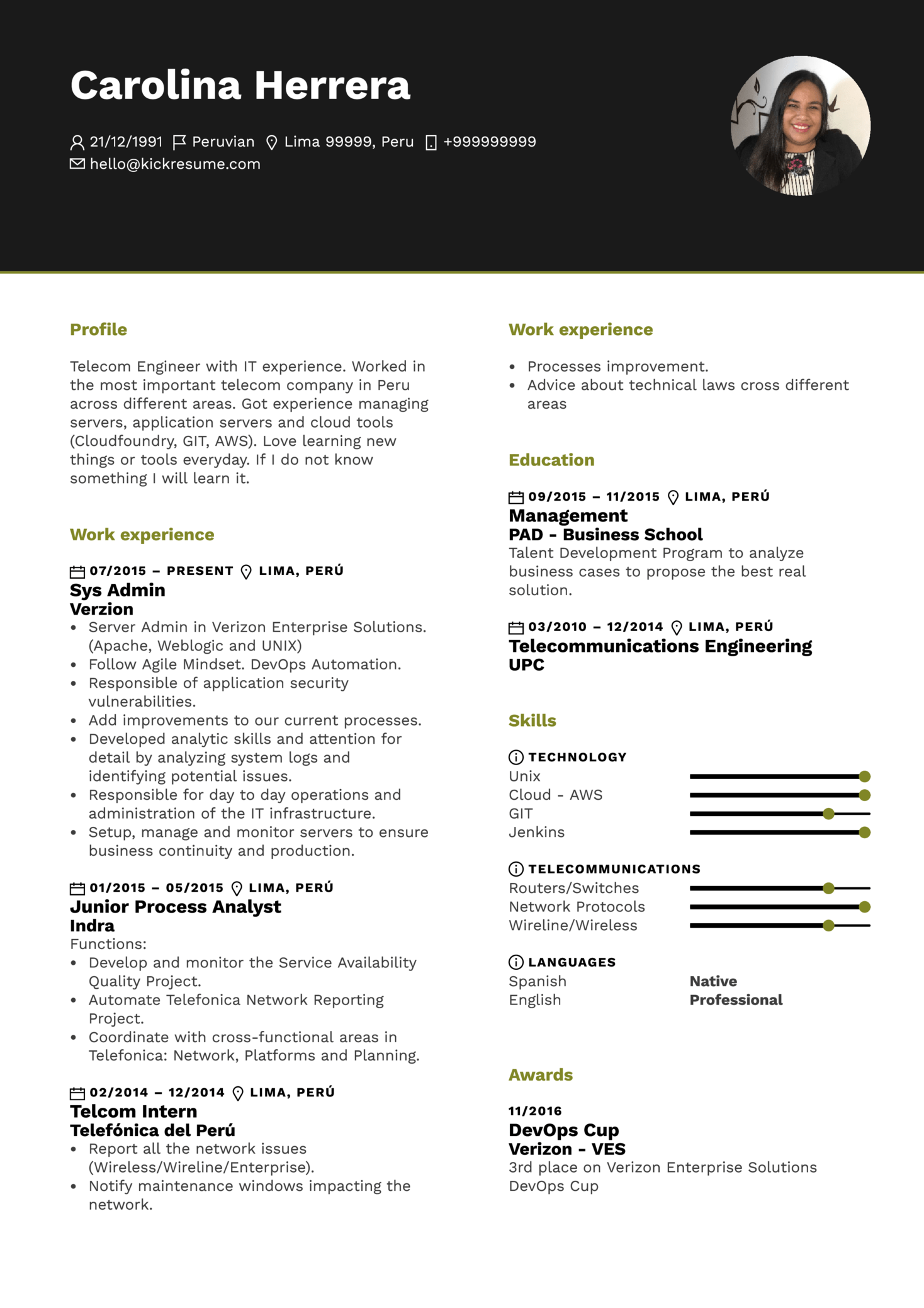 Amazon Systems Administrator Resume Sample (parte 1)