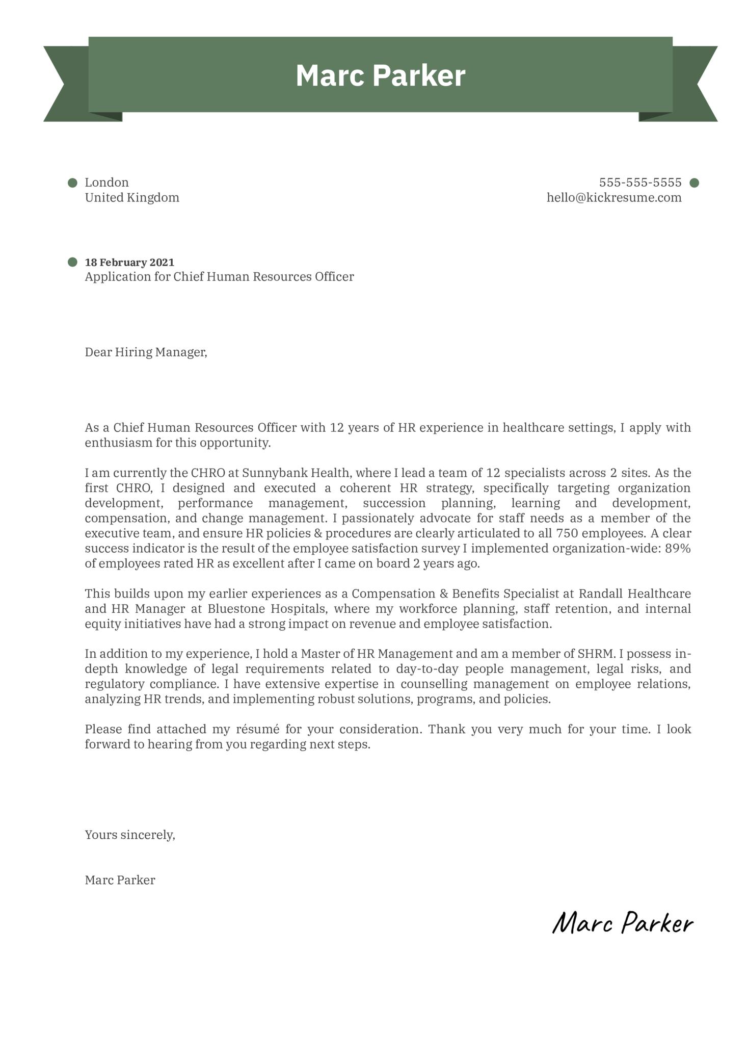 CHRO Cover Letter Template