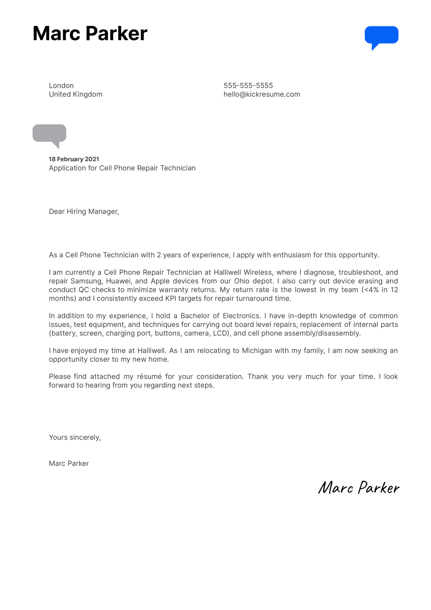 Cell Phone Repair Technician Cover Letter Sample